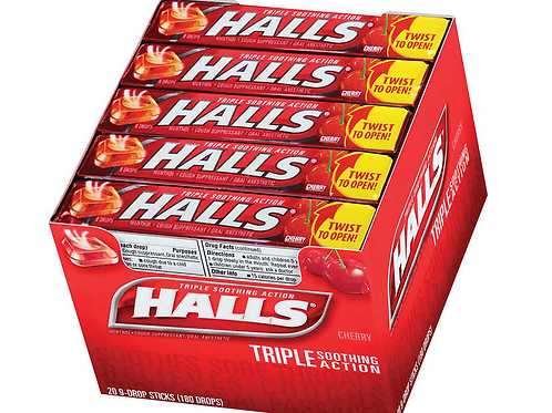 Halls Cough Drops, Cherry, 20 ct.