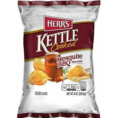 Herr's Kettle Potato Chips, BBQ, 12 x 8oz