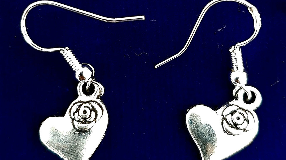Silver heart with rose earrings (925)