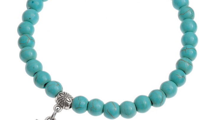 turquoise bead stretch bracelet with metal Owl charm