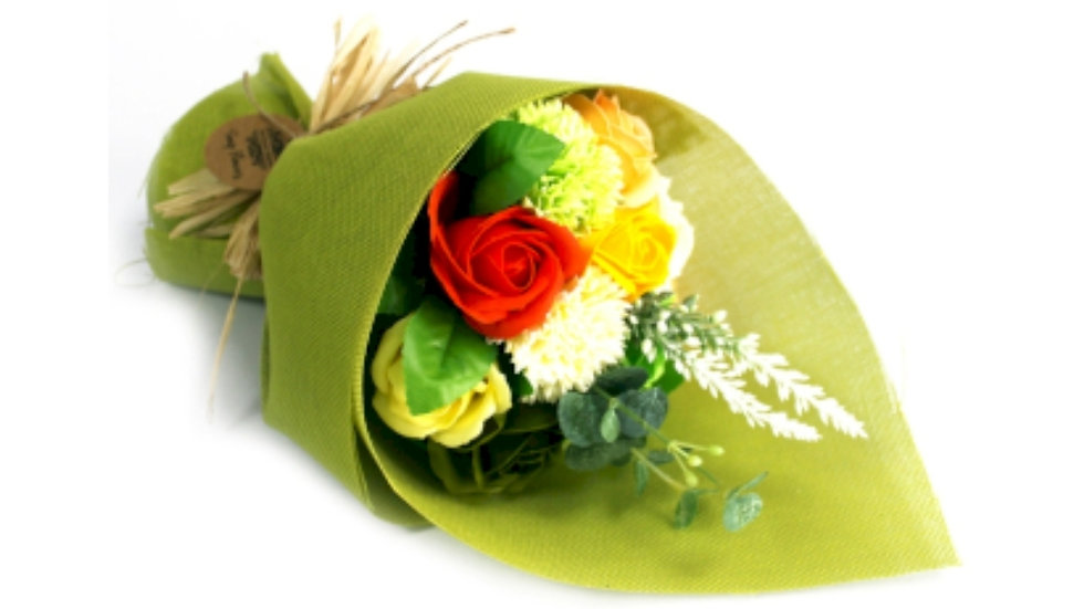 Standing soap flowers bouquet-Green/Yellow