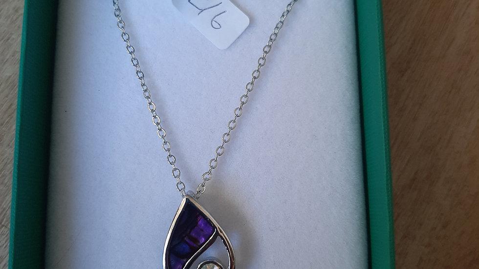 Tide paua shell necklace (925 silver)