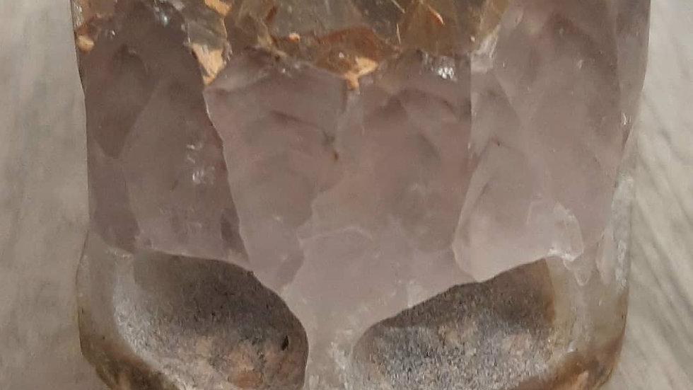 Sandstone and amethyst skull