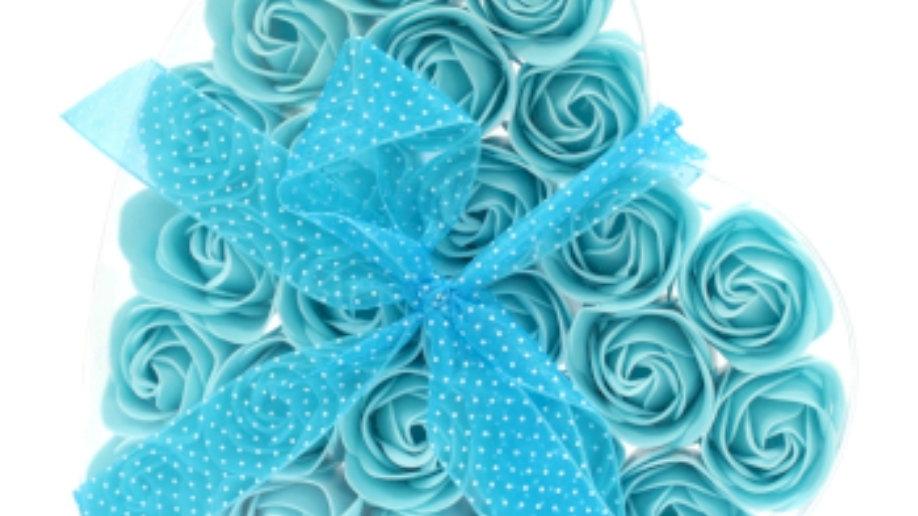 Set of 24 soap flowers-Blue