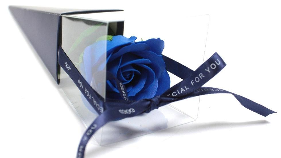 Single blue rose soap flower