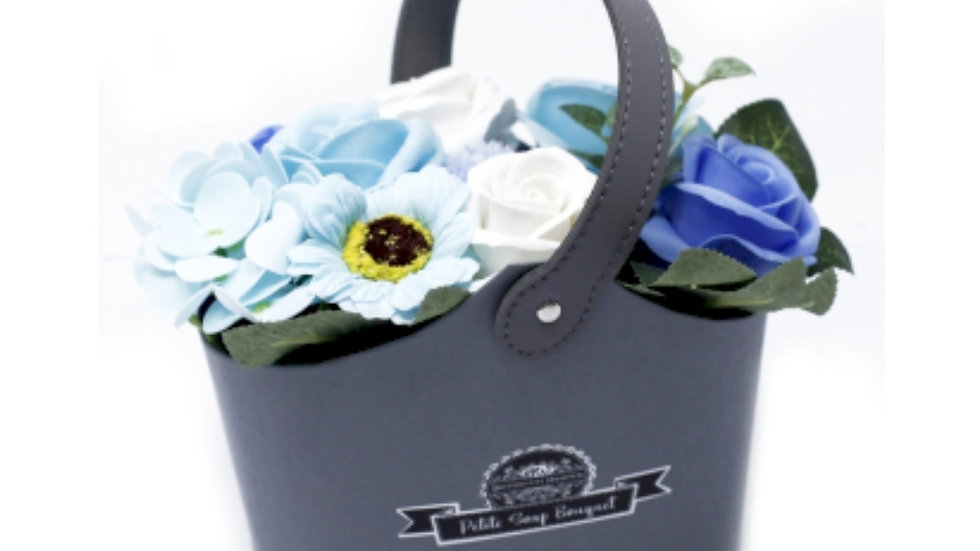 Soap flowers petite basket- soothing blues