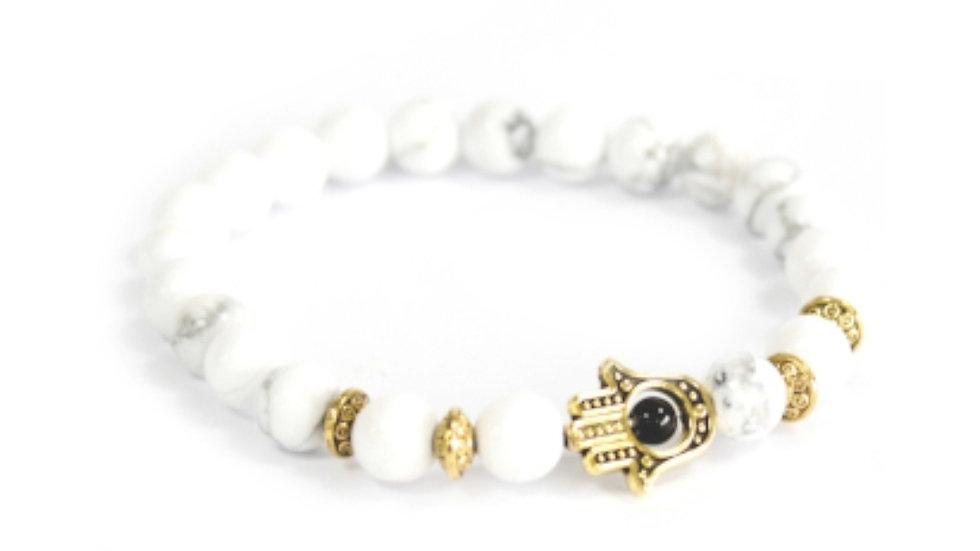 Gold Hamsa/ White stone Gemstone bracelet