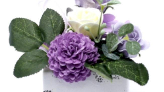 Petite soap flower pot- soft lavender