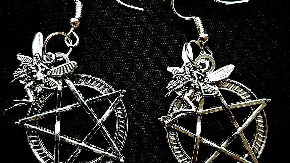 Pentagram and fairy earrings (925)