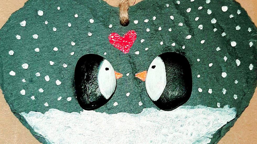 Penguin love 15x15cm hanging slate heart