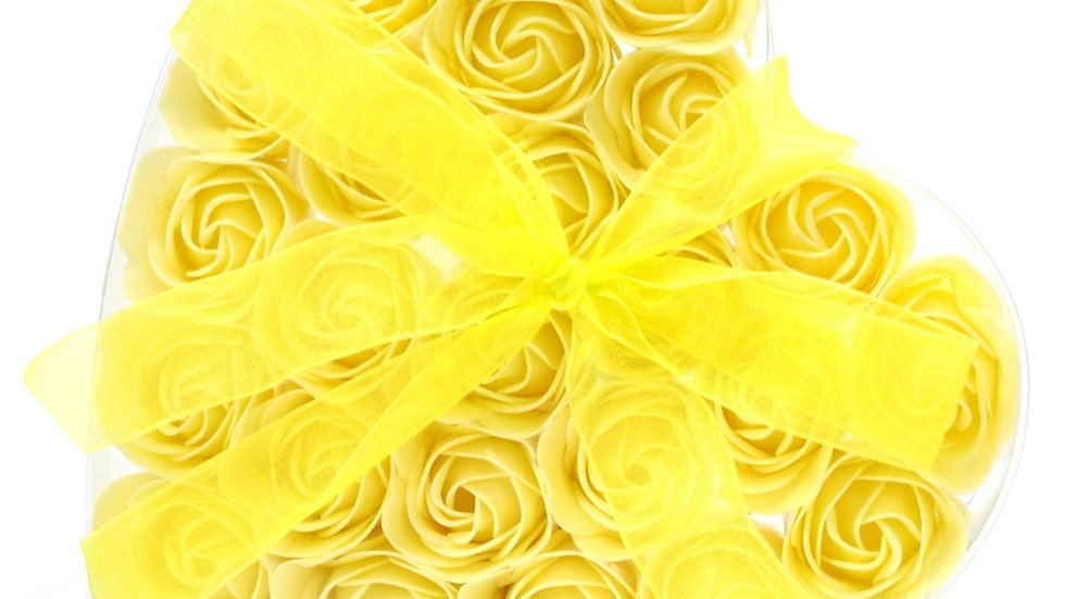 Set of 24 heart rose soap flowers