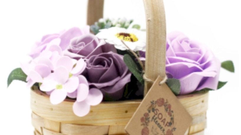 Soap flower basket- purple