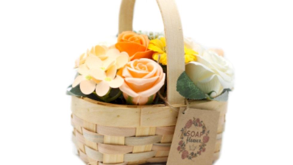 Large soap flower basket- Orange