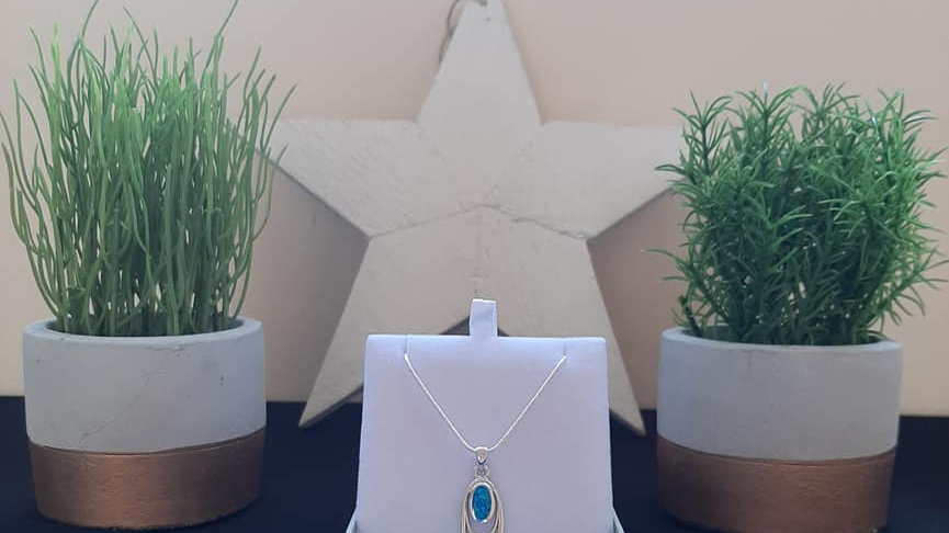925 silver opal necklace