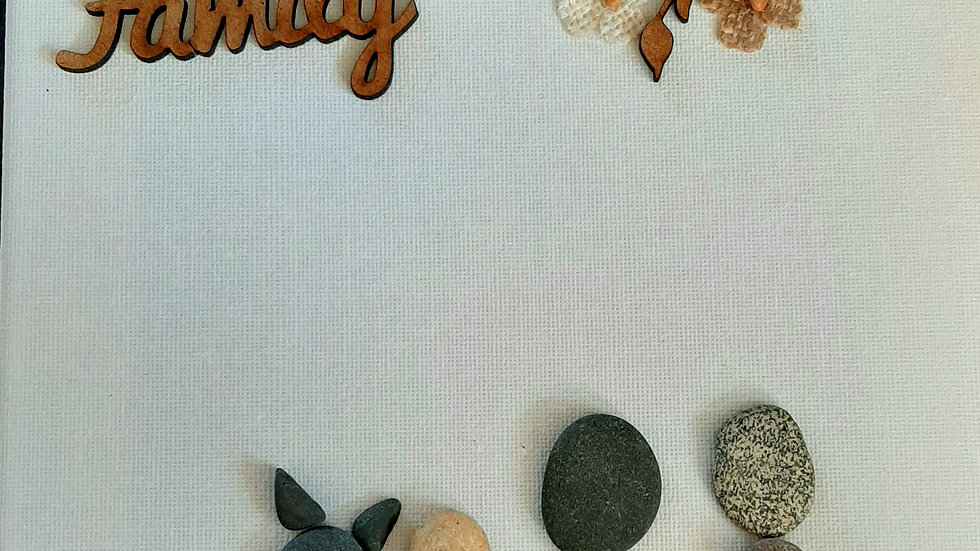 """Family"" pebble art canvas"