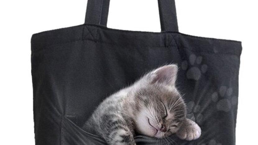 Pocket kitten canvas tote bag