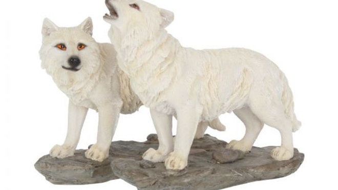The Watchers White Wolf Figures (Set of 2)