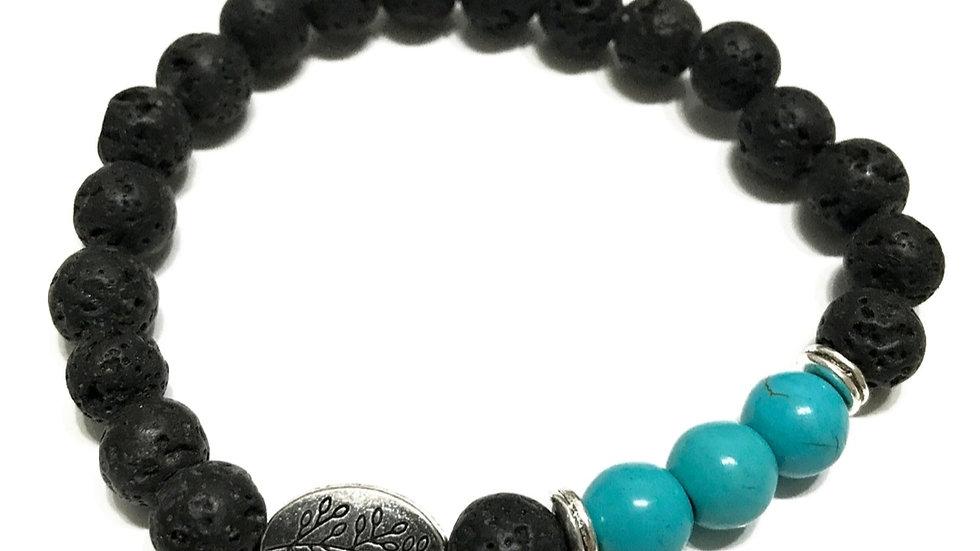 Lava stone bracelet- turquoise leaf