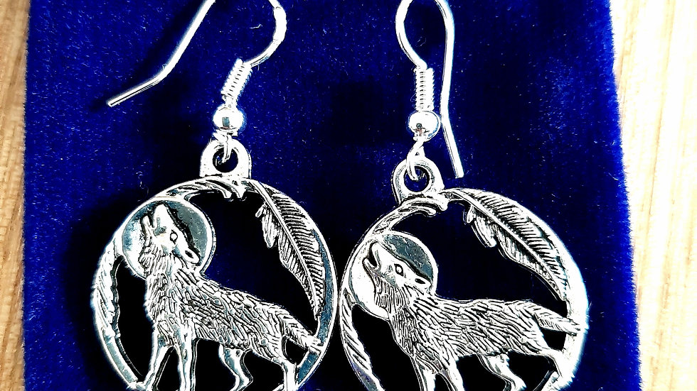 925 silver wolf eclipse earrings