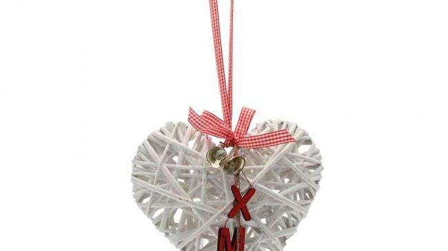 White hanging Christmas wicker heart