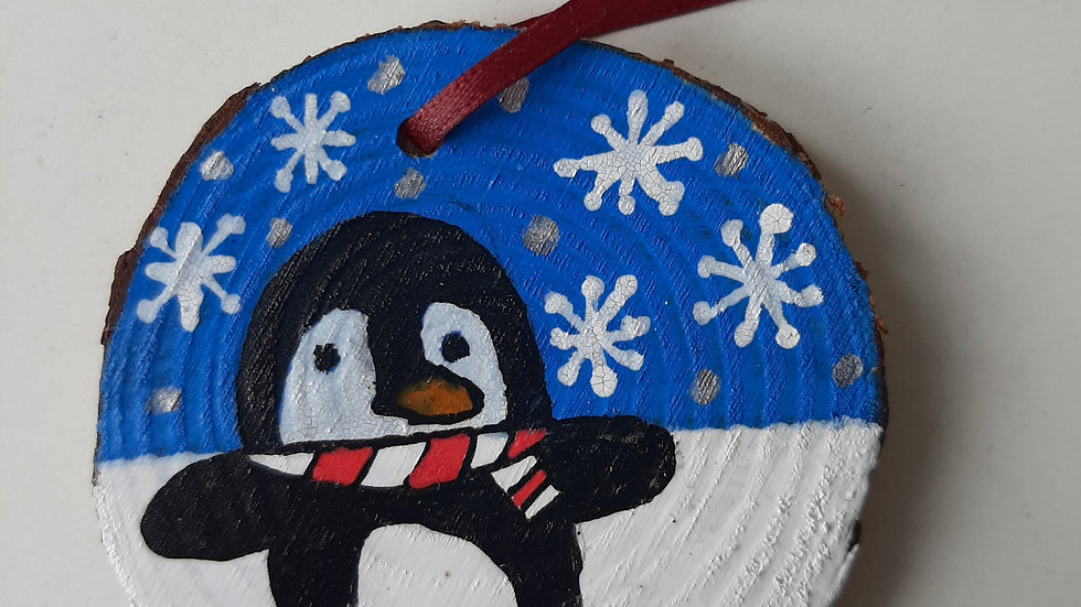 Penguin painted wood slice hanging decoration