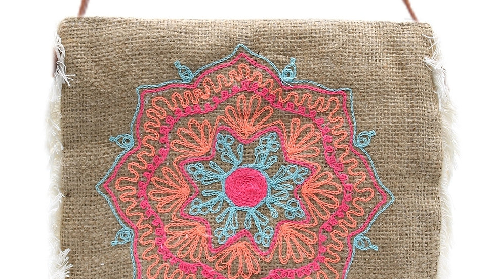 Embroidered hessian bag