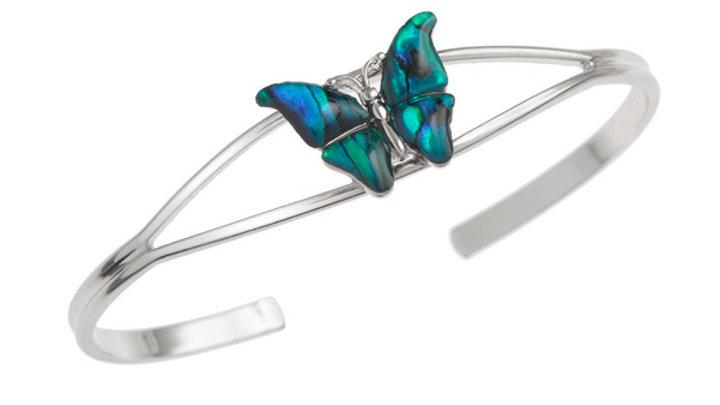 Inlaid blue/ Pink Paua shell butterfly bangle. (925)