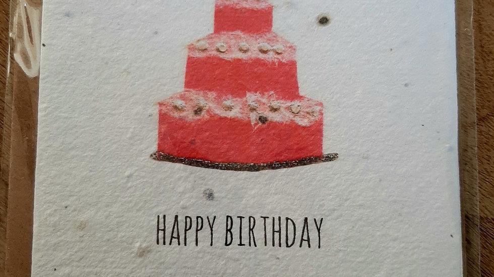 Birthday cake eco seed card