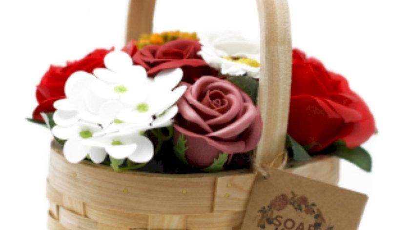 Soap flower bouquet basket-red