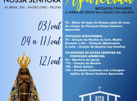 Programação do Mês Missionário e Festa de Nossa Senhora Aparecida