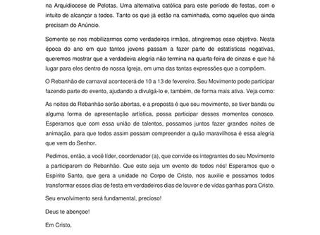 Carta-Convite Rebanhão de Carnaval 2018.