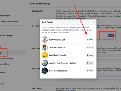 Block Fact Checking Bots to Your Facebook Account