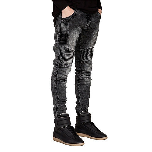 Men's Biker Style Skinny Jeans