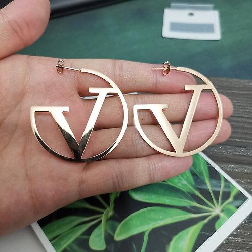 Rose Gold V Earrings