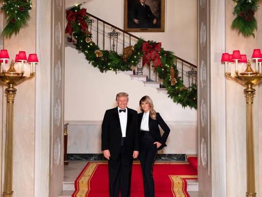 """Dueling Tuxedos"" - Donald and Melania Trump pose for 2020 White House Christmas photo -"