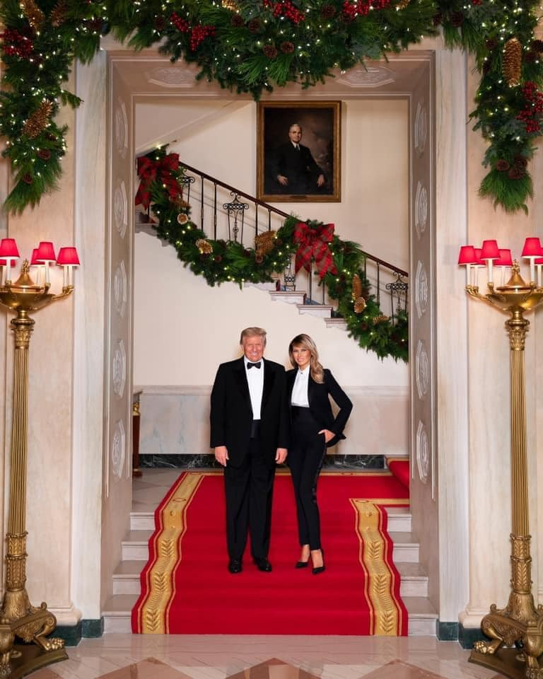 Donald and Melania Trump have shared their final official Christmas photo as President and First Lady of the United States (Picture: Andrea Hanks/The White House)