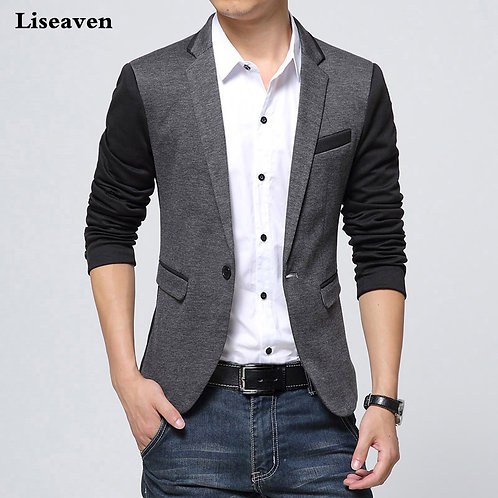 Smart Solid Grey Blazer
