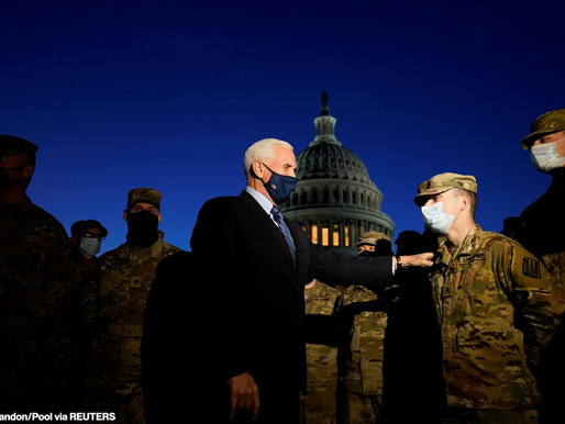 Pence Visits National Guard Troops At Capitol To Thank Them