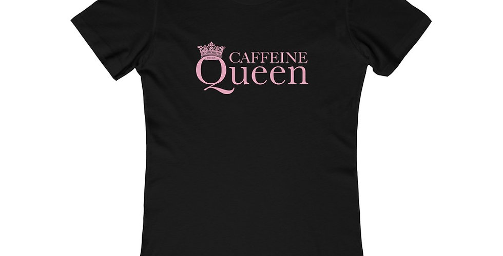 CAFFEINE Queen Black & Pink Womens Fitted Tee