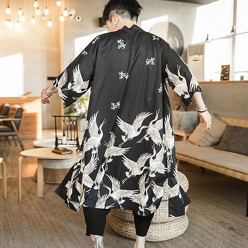 Men's Crane Design Kimono