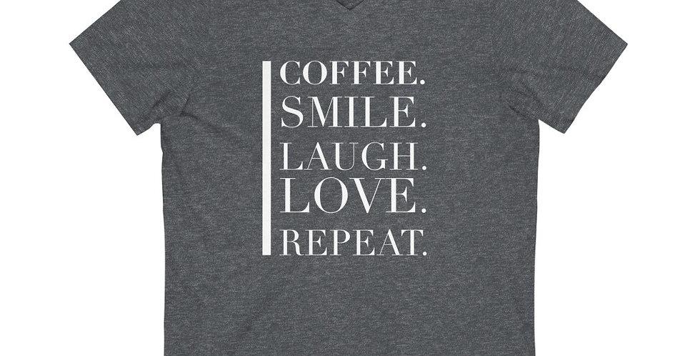 Coffee Love Repeat Unisex V-Neck Tee