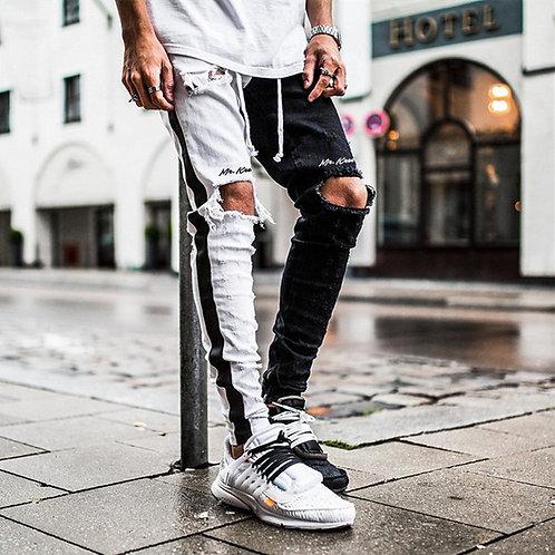 Men's Fashion Half&Half Denim Trouser