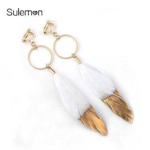Dipped & Unpierced Feather Clip Earrings