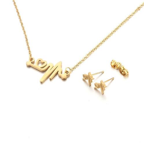 Golden Heartbeat Necklace & Earrings Set