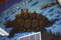 Creation Story Mural detail the Great Flood