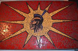 Warrior Flag Mosaic on Wood