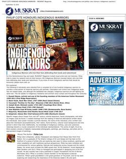 PHILIP COTE HONOURS INDIGENOUS WARRIORS - MUSKRAT Magazine pg01