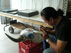 Phil working on Buffalo skull 2