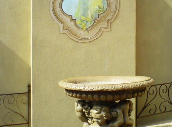 Mirrored bird bath