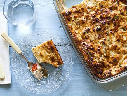 מאפה גבינה, אספרגוס ועגבניות לחות